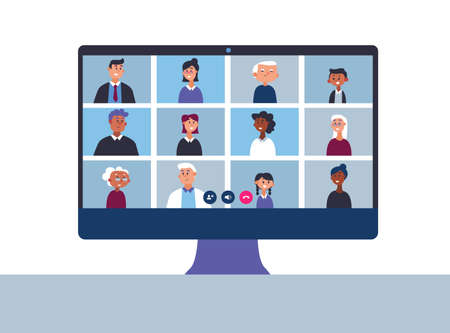 Big family talks on online video conference. Video calls and conversations over the Internet