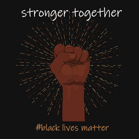 Raised fist in different skin colors on a black background. Black lives matter. Sticker, patch, t-shirt print, logo design. The fight for the human rights. Banque d'images - 152535246