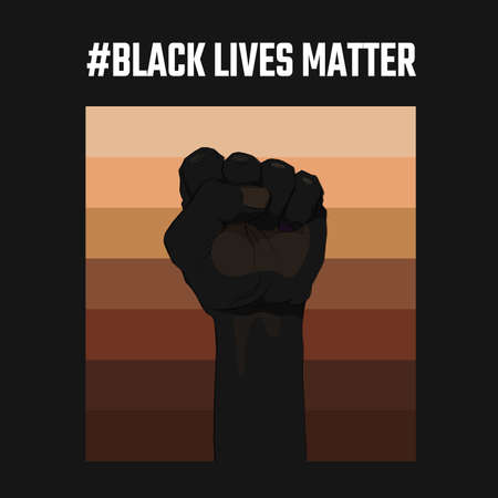 African American arm gesture on a palette of skin shades background. Black lives matter. Sticker, patch, t-shirt print, logo design. The fight for the human rights