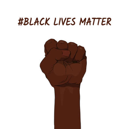 Black lives matter. Sticker, patch, t-shirt print, logo design. Support for equal rights of black people. African American arm gesture on a white background