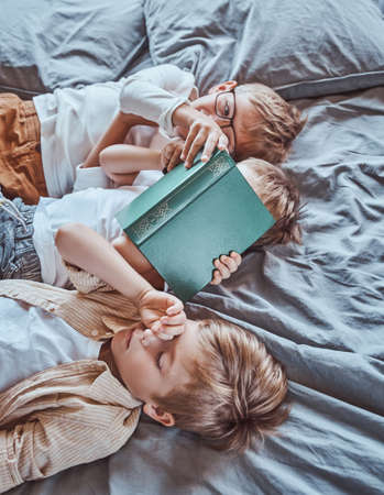 Boys socialize and playing in light wooden room on the soft blue bed. Kindergartens resting room and little brothers in it.