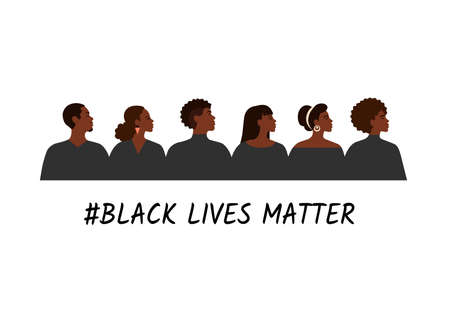 Black lives matter illustration of struggling for freedom and equality of african people. International justice and support.