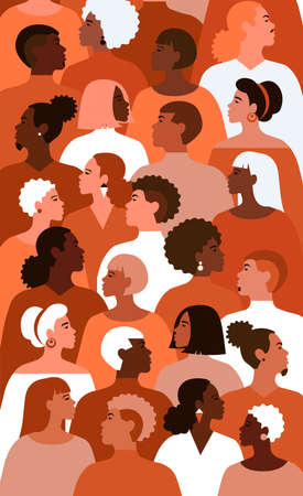 Illustration of equality people with different gender and colour of skin in society. Profile of multicultural people.