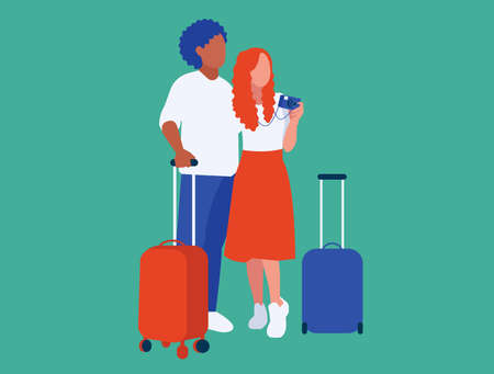 Illustration of boy and girl with cases and camera they are going travel and relax together on holidays.