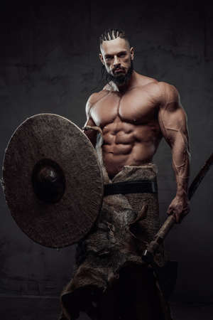 Powerful northern and bearded guy staying holding his shield and axe in dark grunge background.