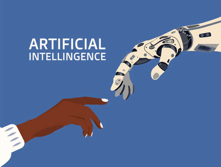 Sign of connection and friendship of artificial intelligence and human in vector style in blue background.