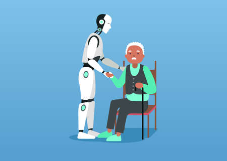Smart futuristic mechanical nurse cares about grandfather he sits on chair. Vector graphic art.