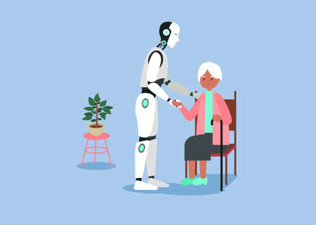 Smart futuristic mechanical nurse cares about grandmother she sits on chair. Vector graphic art. Vettoriali