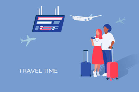 Vector graphic of husband and wife they planning journey and staying in light blue background with airplanes. 矢量图像