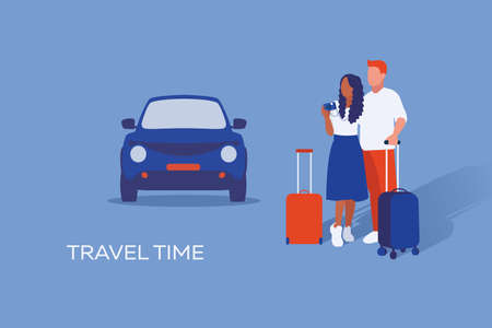 Illustration of journey of couple in love they stay with suitcases in background with car. Travel and vacation time.