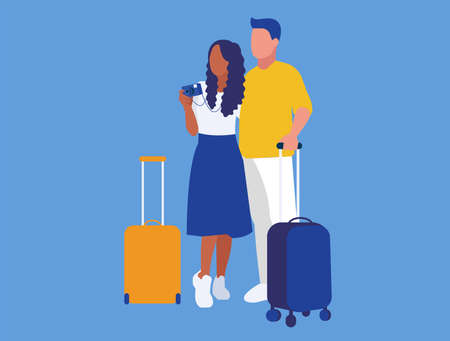Illustration of two tourists with suitcases and camera in blue background. Multiethnic couple in love going to vacation.