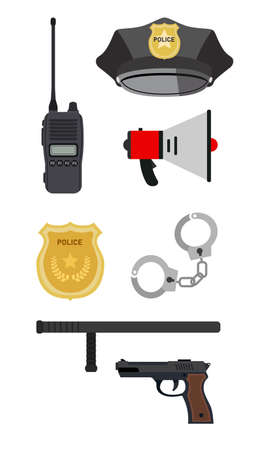 Illustration of basic and important gear of police. Basic equipment of modern officer in white background. Çizim