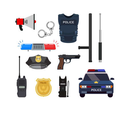 Clipart icons of all main and important items and equipment with vehicles of professional policeman in white background.