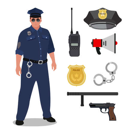 Clipart icons of main and important personal equipment of male officer in white background. Çizim