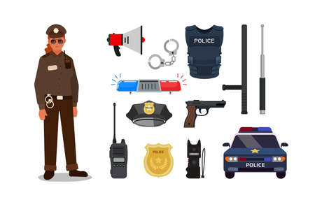 Clipart icons of main and important personal equipment of female officer in white background.