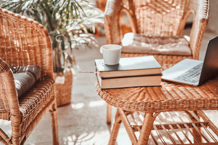 Warm and soft apartment in daytime and coffee cup with book on table around bamboo chairs and plants.