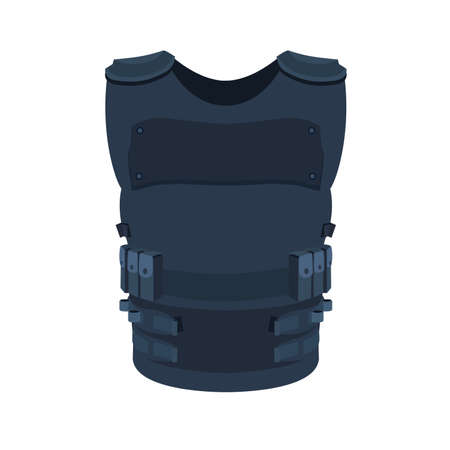 Illustration of single object isolated on white. Flat art of a police vest basic and individual protective body armour. Vetores