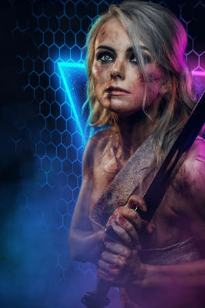 Atmospheric portrait of a damaged and bandaged female barbaric soldier with scar and gray hairs holding a sword in colourful abstract background.