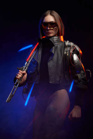 Fantasy portrait of a seductive woman holding a glowing sword on her shoulder. Female killer in cyberpunk style wielding a melee weapon.