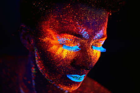 neon green: close up uv portrait