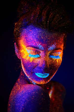colourful paint: close up uv portrait