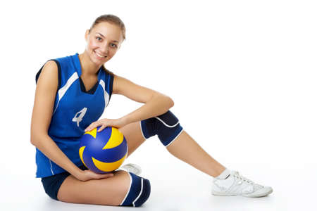 young, beauty volleyball player. Isolated on white in studio