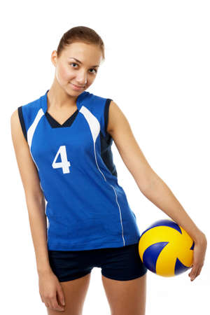 emulate: young, beauty volleyball player. Isolated on white in studio