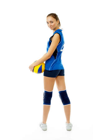sportingly: young, beauty volleyball player. Isolated on white in studio