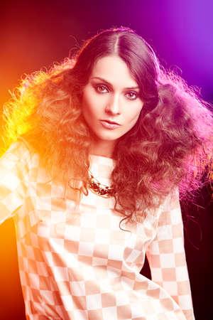 Beautiful Brunette Girl. Perfect Makeup.Make-up. Stock Photo