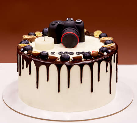hundreds: Photographers birthday cake with a photo camera on top