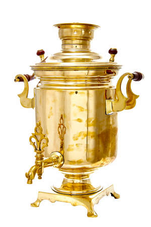 vintage copper Russian samovar isolated on white background