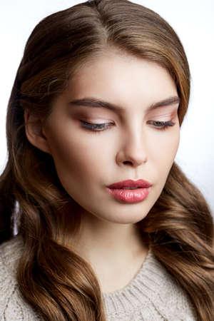 Beauty Portrait. Beautiful Spa Woman beauty headshot make up Reklamní fotografie