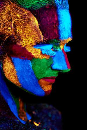 Close up UV abstract portrait Halloween