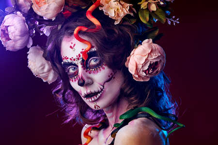 Halloween make up sugar skull beautiful model. Santa muerte concept