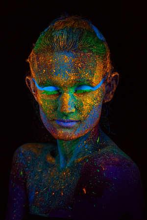 Close up UV abstract portrait Halloween Foto de archivo