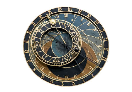 Isolated Astronomical clock in Prague photo