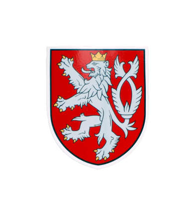 czech republic: Shield with two-tailed  lion - national sign of Czech Republic