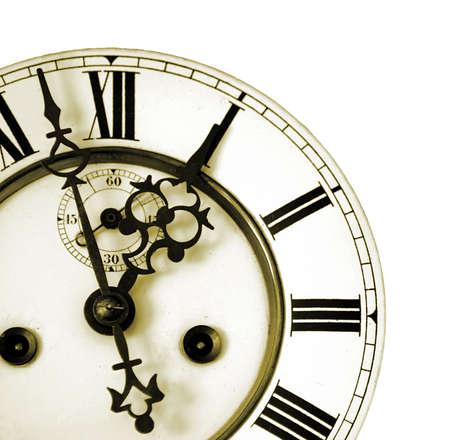 orologi antichi: Veramente vecchio orologio volto girato in Sepia con bella redatto puntatori
