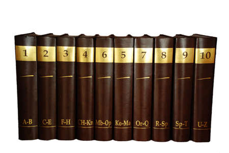 heavy set: Encyclopedia set - 10 heavy book tomes Stock Photo
