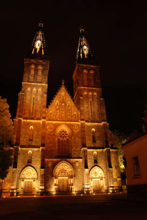 Gothic cathedral in Prague in  the night photo