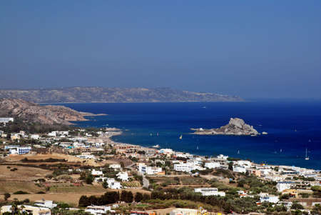 panoramatic: Bay of Kefalos with a Castri isle on a Greek island of Kos Stock Photo