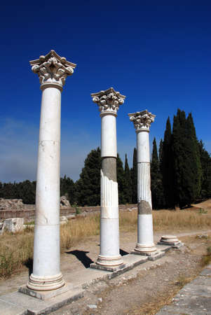 kos: Ancient ruins - pillars on a Greek island Kos Stock Photo