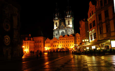 tyn: Old Town Square in Prague in the Czech Republic at night Stock Photo