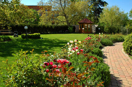 asian tulips: Garden with tulips, gazebo and path