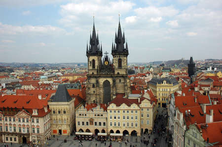 tyn: Tyn Cathedral in Prague during the Easter celebrations