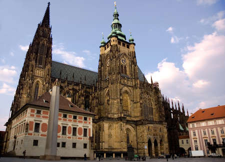 grandiose: Famous Czech Gothic cathedral from the side. Landmark of Prague Stock Photo