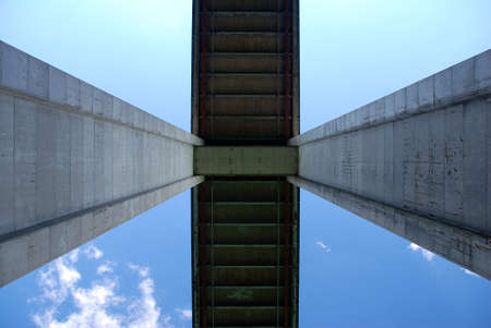tage: Detail of a bridge pillars from bottom Stock Photo