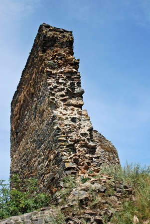 crenelation: Old ruined wall of the Czech castle