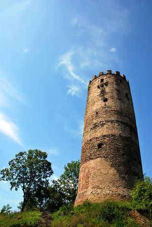 crenelation: Ruins of old Czech castle - just tower has left