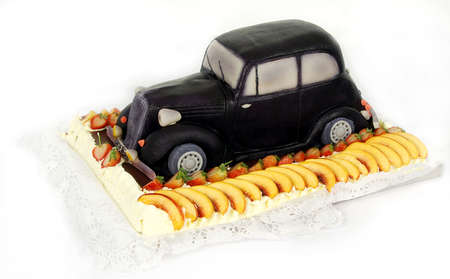 Very special birthday cake - a vintage car of marzipan photo